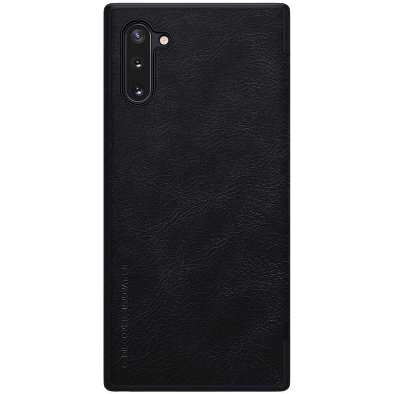 cheap For Samsung Galaxy Note 10+ Nillkin Qin Leather Card Slot Flip Case Cover - Black
