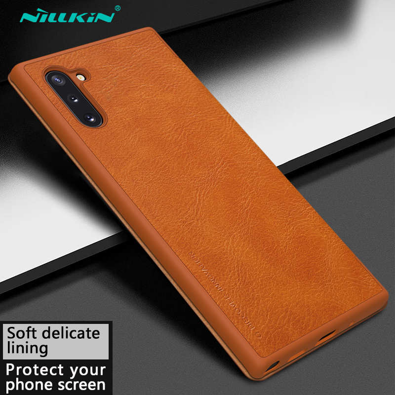 discount For Samsung Galaxy Note 10 Genuine Nillkin Qin Leather Card Slot Flip Case Cover - Brown