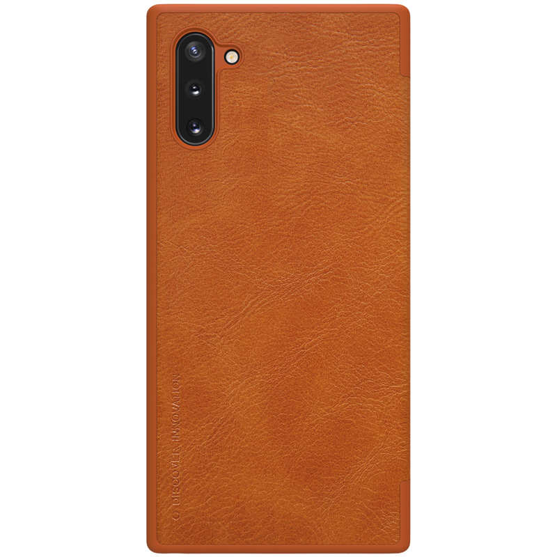 cheap For Samsung Galaxy Note 10 Genuine Nillkin Qin Leather Card Slot Flip Case Cover - Brown