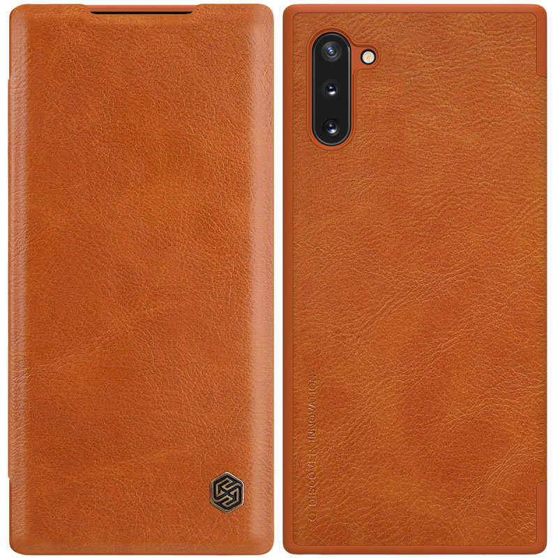 wholesale For Samsung Galaxy Note 10 Genuine Nillkin Qin Leather Card Slot Flip Case Cover - Brown