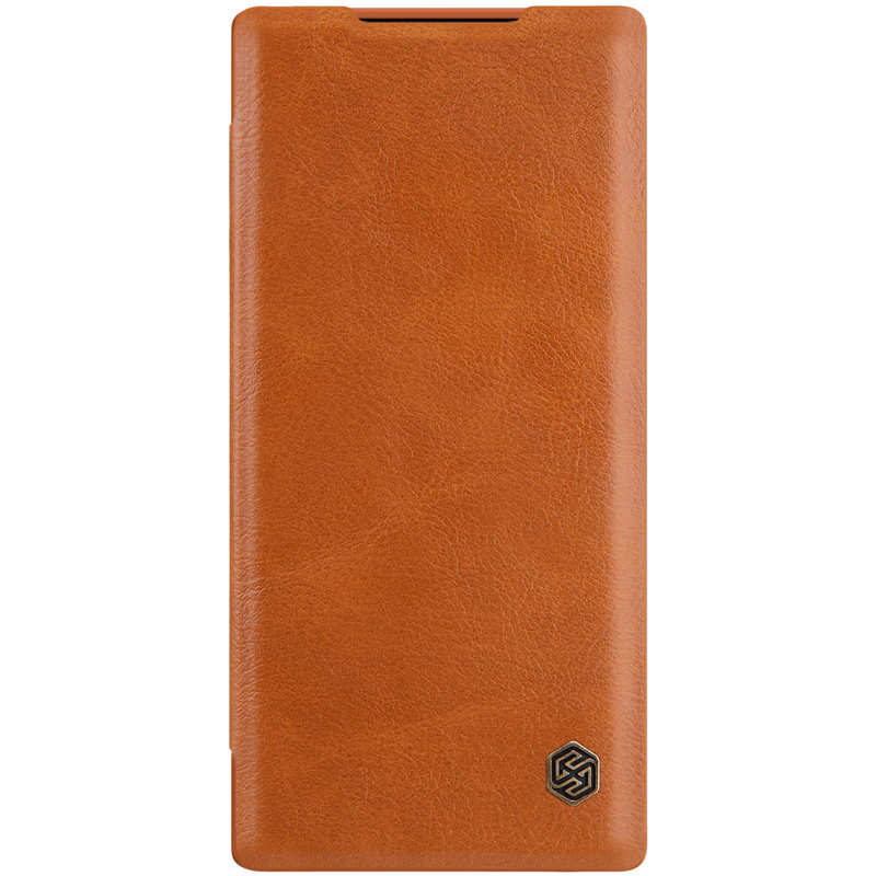 top quality For Samsung Galaxy Note 10 Genuine Nillkin Qin Leather Card Slot Flip Case Cover - Brown