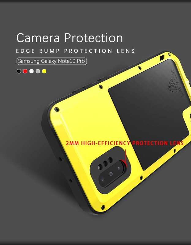 cheap For Samsung Galaxy Note 10+ Plus LOVE MEI Powerful Aluminum Shockproof Armor Case - Yellow