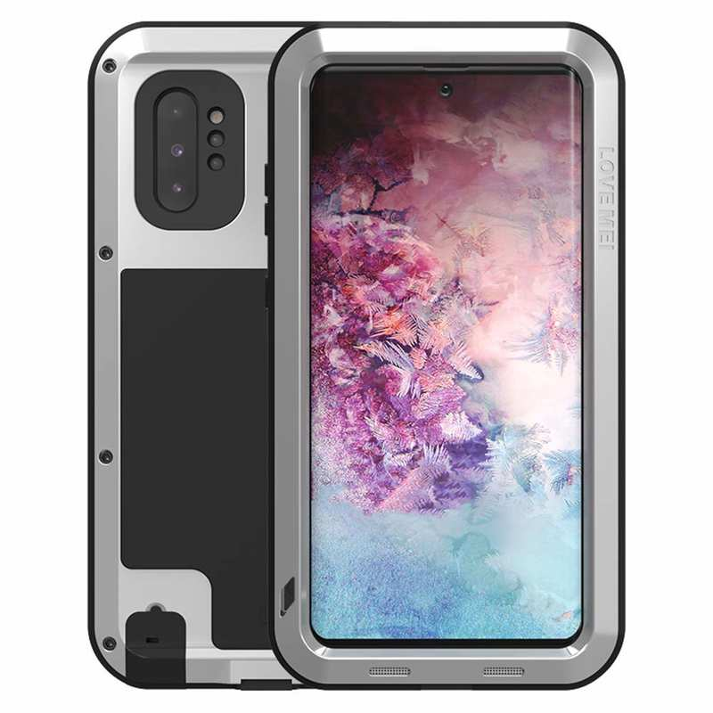 wholesale For Samsung Galaxy Note 10+ Plus LOVE MEI Powerful Aluminum Shockproof Armor Case - Silver