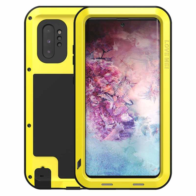 wholesale For Samsung Galaxy Note 10+ Plus LOVE MEI Powerful Aluminum Shockproof Armor Case - Yellow