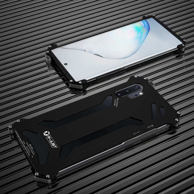 discount For Samsung Galaxy S20 Ultra Plus Note 10+ Plus S10 R-Just Aluminum Metal Shockproof Case