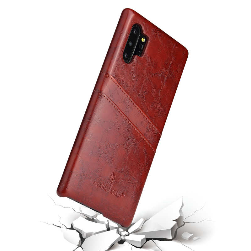 best price For Samsung Galaxy Note 10 Pro Oil Wax Leather Back Case Cover - Brown