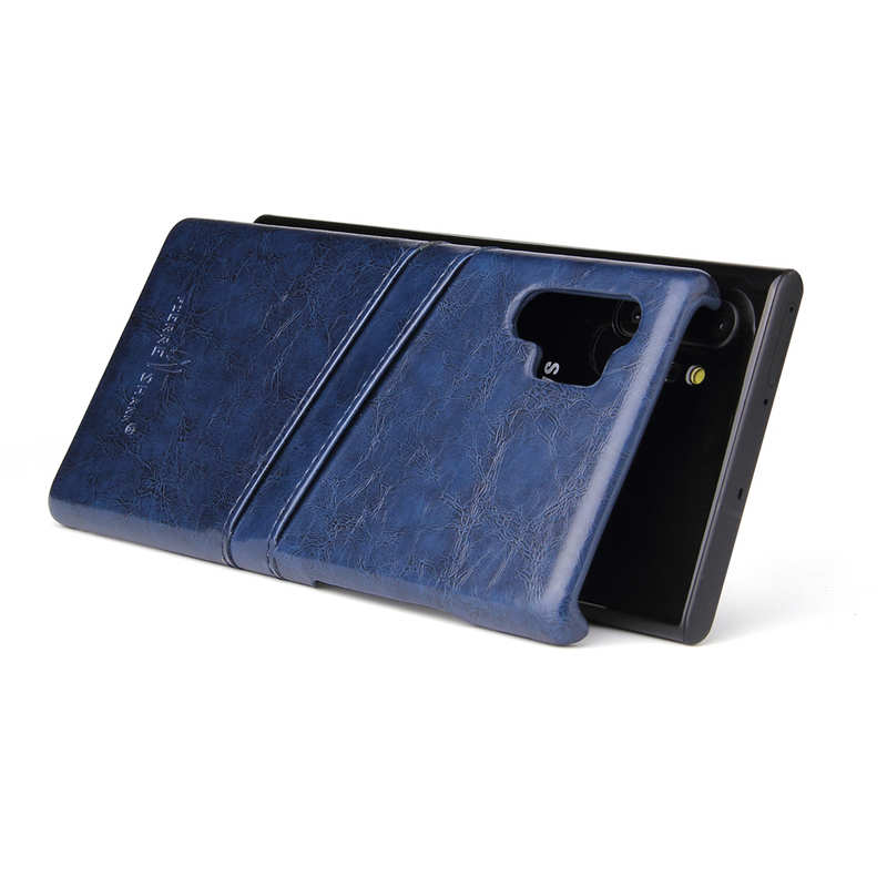 top quality For Samsung Galaxy Note 10 Pro Oil Wax Leather Back Case Cover - Dark Blue
