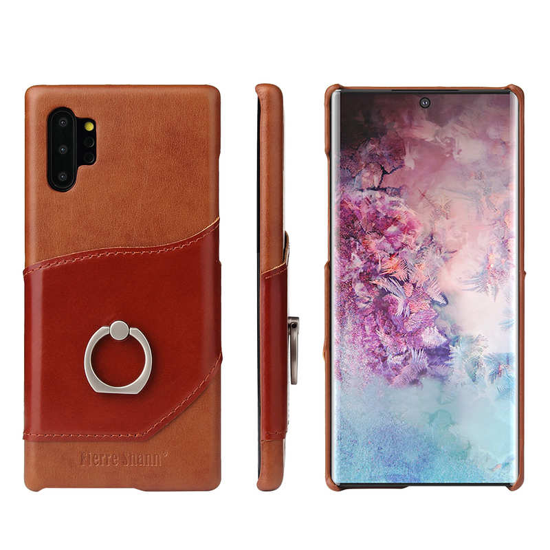 wholesale For Samsung Galaxy Note 10+ Ring Holder Kickstand Genuine Leather Case - Brown