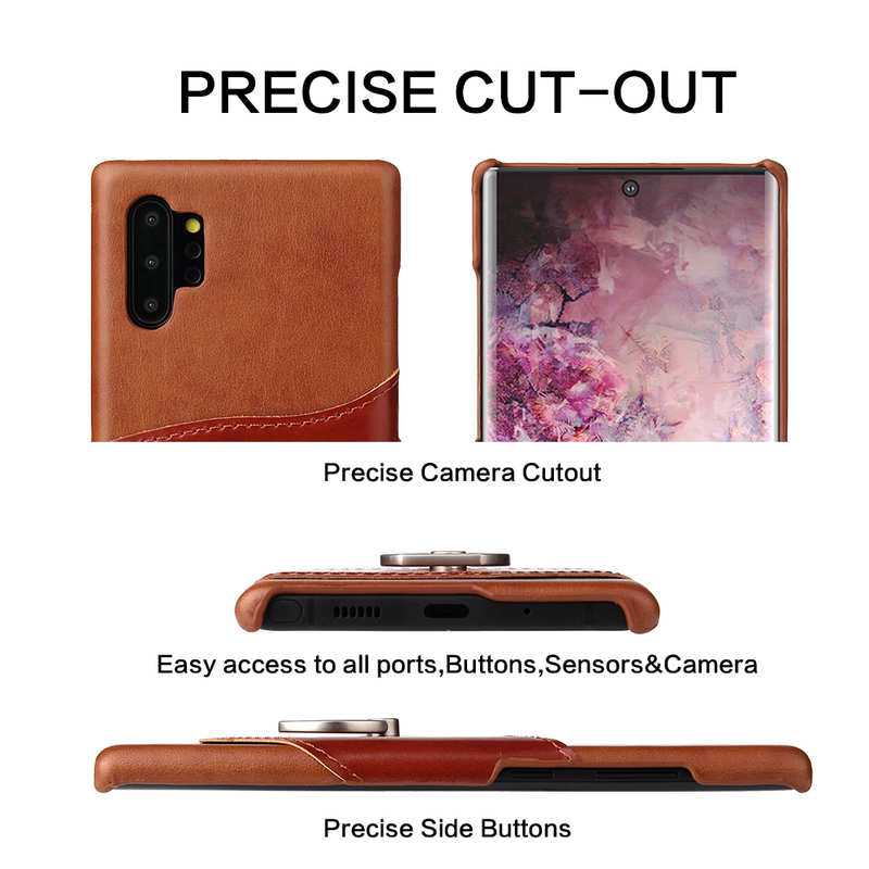 discount For Samsung Galaxy Note 10+ Ring Holder Kickstand Genuine Leather Case - Brown