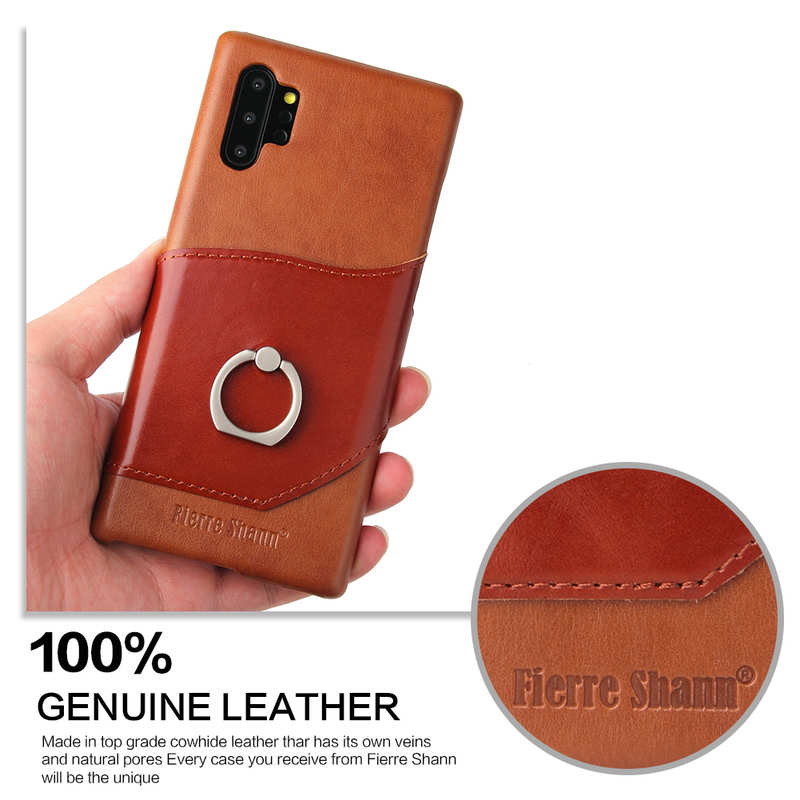 cheap For Samsung Galaxy Note 10+ Ring Holder Kickstand Genuine Leather Case - Brown