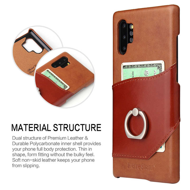 top quality For Samsung Galaxy Note 10+ Ring Holder Kickstand Genuine Leather Case - Brown