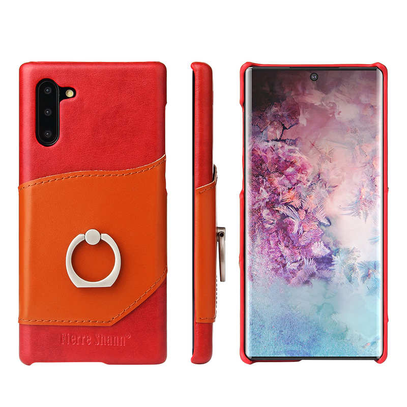 wholesale For Samsung Galaxy Note 10+ Ring Holder Kickstand Genuine Leather Case - Red