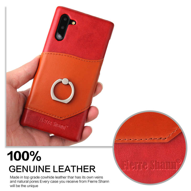 cheap For Samsung Galaxy Note 10+ Ring Holder Kickstand Genuine Leather Case - Red
