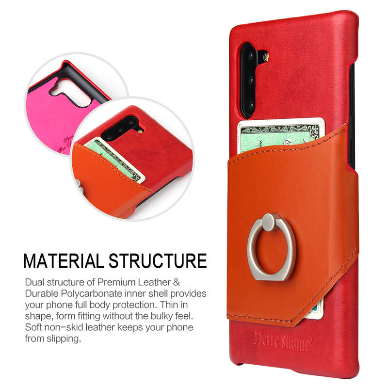 top quality For Samsung Galaxy Note 10+ Ring Holder Kickstand Genuine Leather Case - Red