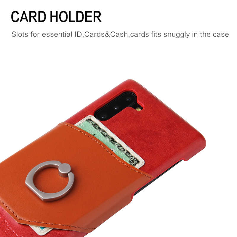 best price For Samsung Galaxy Note 10+ Ring Holder Kickstand Genuine Leather Case - Red