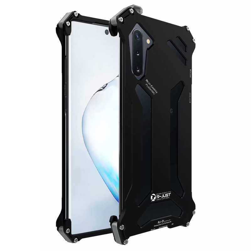 wholesale Metal Case for Samsung Galaxy Note 10 R-just Shockproof Back Cover - Black