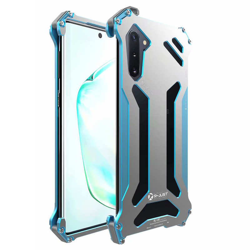 wholesale Metal Case for Samsung Galaxy Note 10 R-just Shockproof Back Cover - Blue