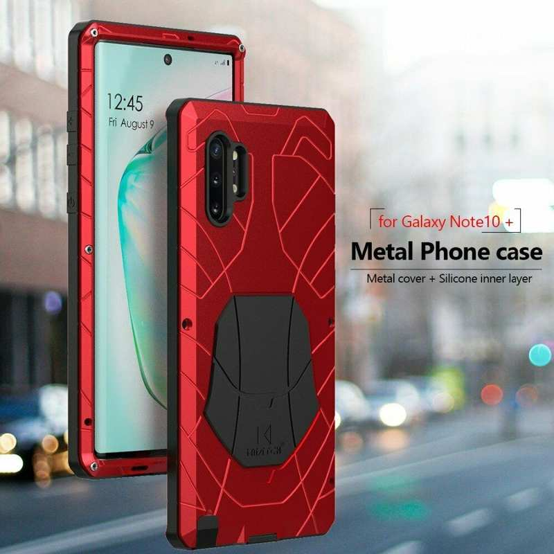 best price For Samsung Galaxy Note 10+ Plus Powerful Metal Aluminum Armor Silicone Case - Red