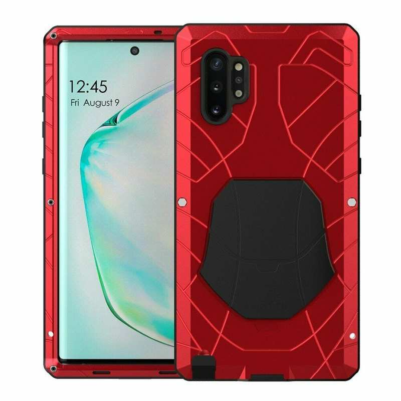 wholesale For Samsung Galaxy Note 10+ Plus Powerful Metal Aluminum Armor Silicone Case - Red