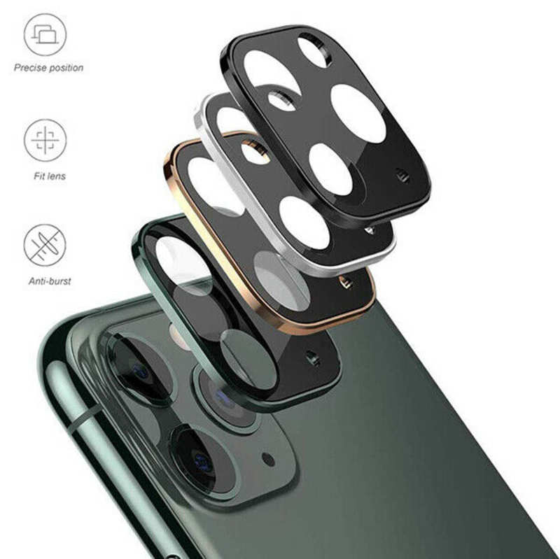 discount Camera Lens Protector For iPhone 11 Pro Max Tempered Glass Metal Full Cover - Silver