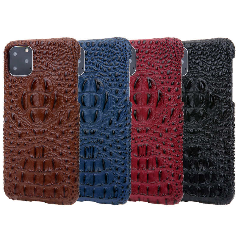 best price Cowhide Genuine 3D Crocodile Leather Phone Case Cover for iPhone 11 Pro - Red
