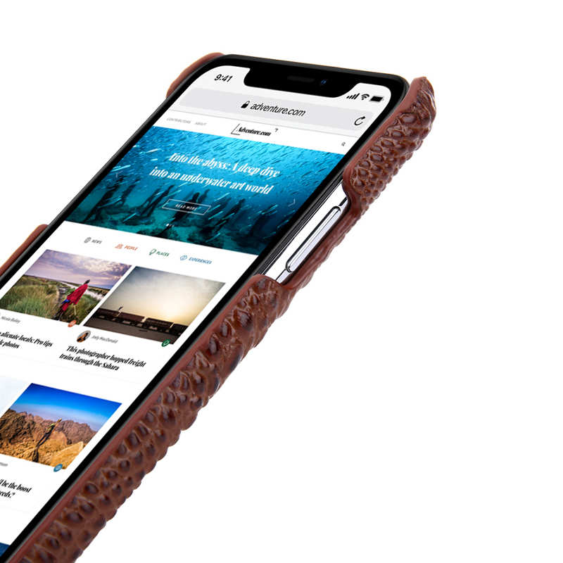 best price Cowhide Genuine 3D Crocodile Leather Phone Case Cover for iPhone 11 Pro - Brown