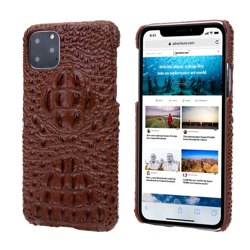 wholesale Cowhide Genuine 3D Crocodile Leather Phone Case Cover for iPhone 11 Pro - Brown