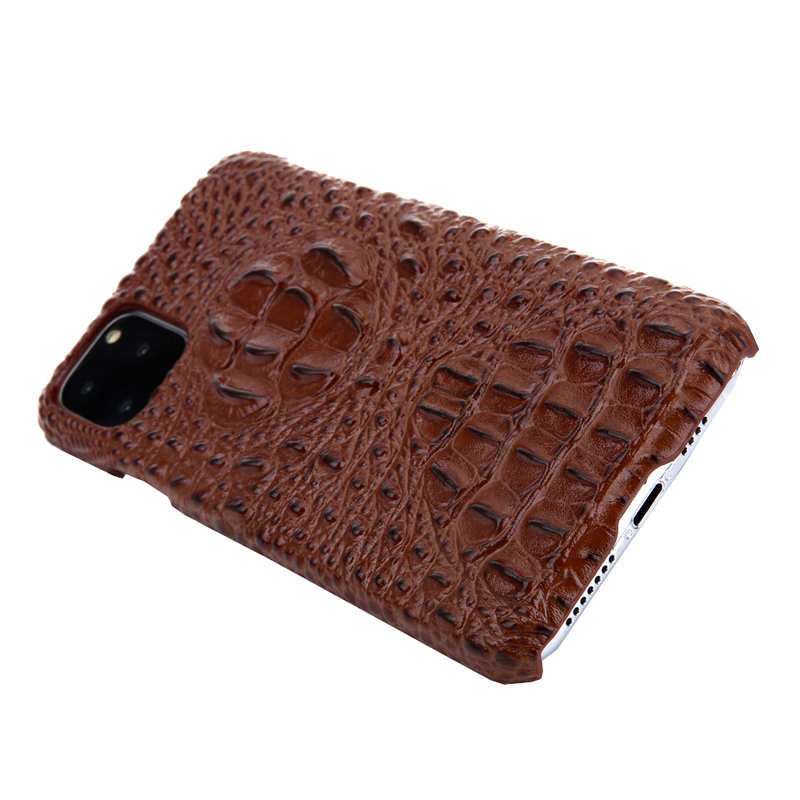 discount Cowhide Genuine 3D Crocodile Leather Phone Case Cover for iPhone 11 Pro - Brown