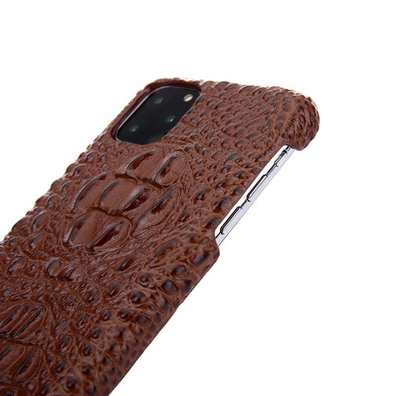 cheap Cowhide Genuine 3D Crocodile Leather Phone Case Cover for iPhone 11 Pro - Brown