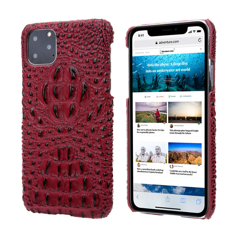 wholesale Cowhide Genuine 3D Crocodile Leather Phone Case Cover for iPhone 11 Pro - Red