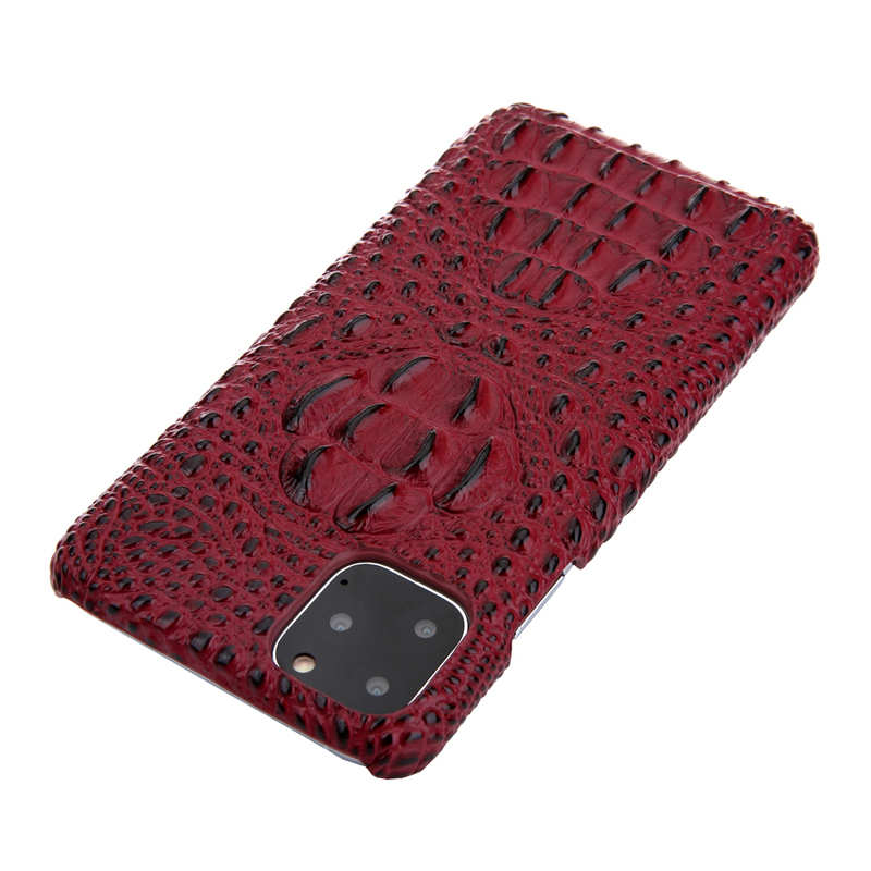 cheap Cowhide Genuine 3D Crocodile Leather Phone Case Cover for iPhone 11 Pro - Red