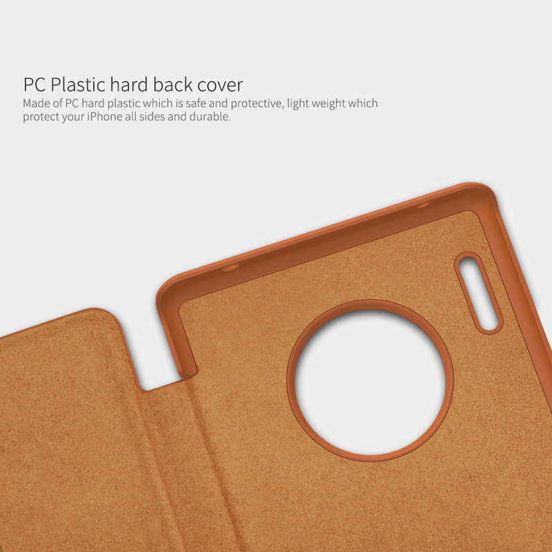on sale For Huawei Mate 30 Pro Nillkin Qin Leather Card Slot Flip Case Cover - Brown