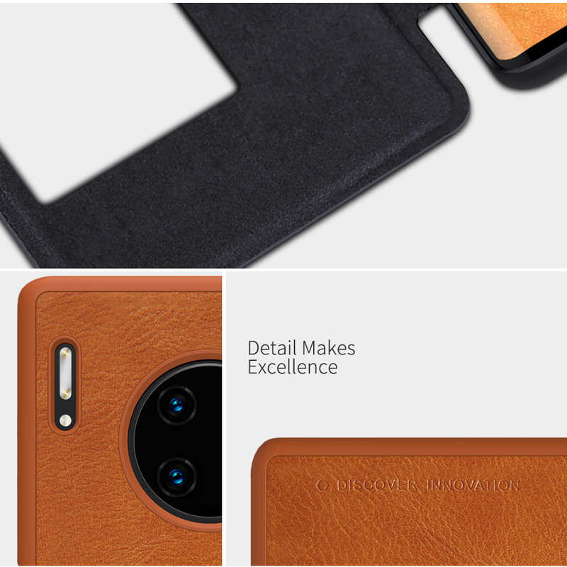 low price For Huawei Mate 30 Pro Nillkin Qin Leather Card Slot Flip Case Cover - Brown