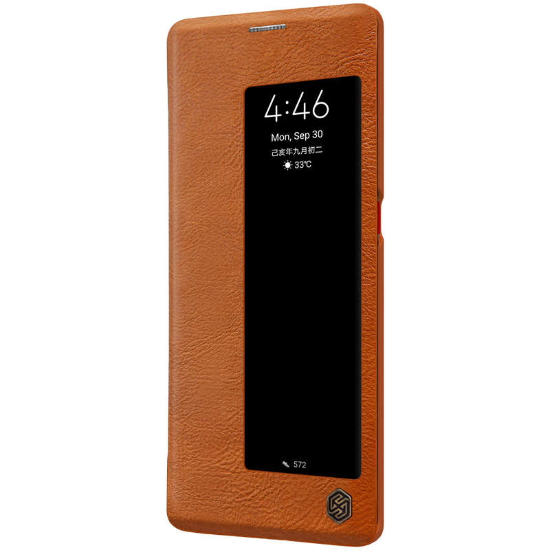 cheap For Huawei Mate 30 Pro Nillkin Qin Leather Card Slot Flip Case Cover - Brown