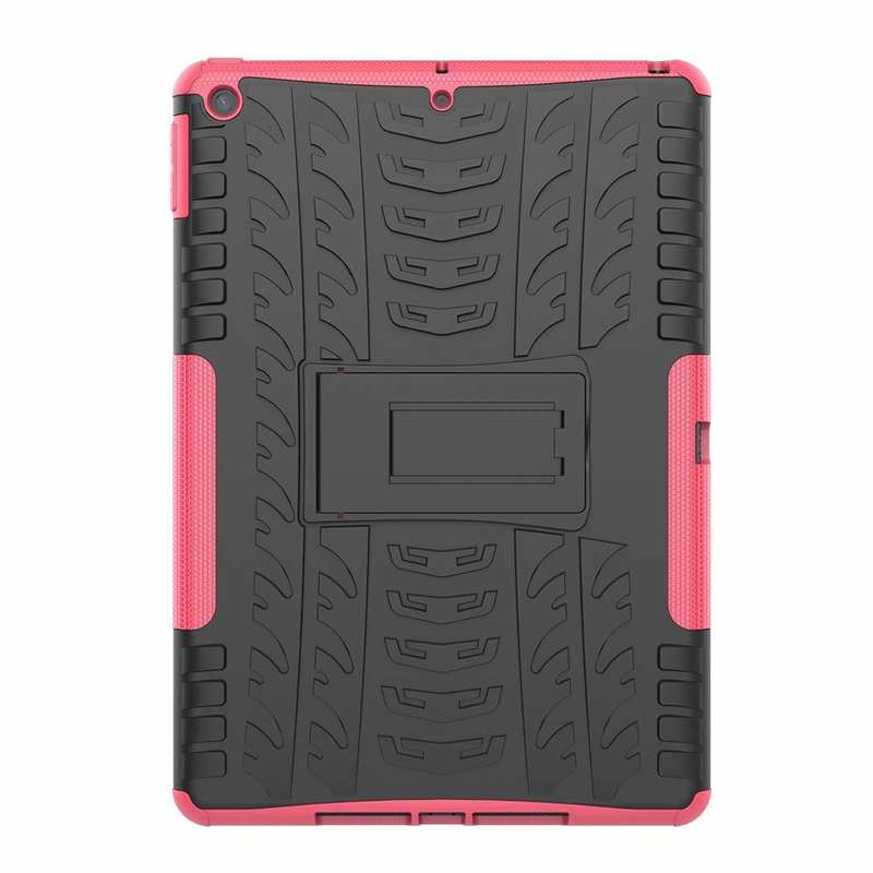 discount For iPad 10.2 7th Gen 2019 Hybrid Shockproof Rugged Hard PC Case Cover w/ Stand - Hot Pink
