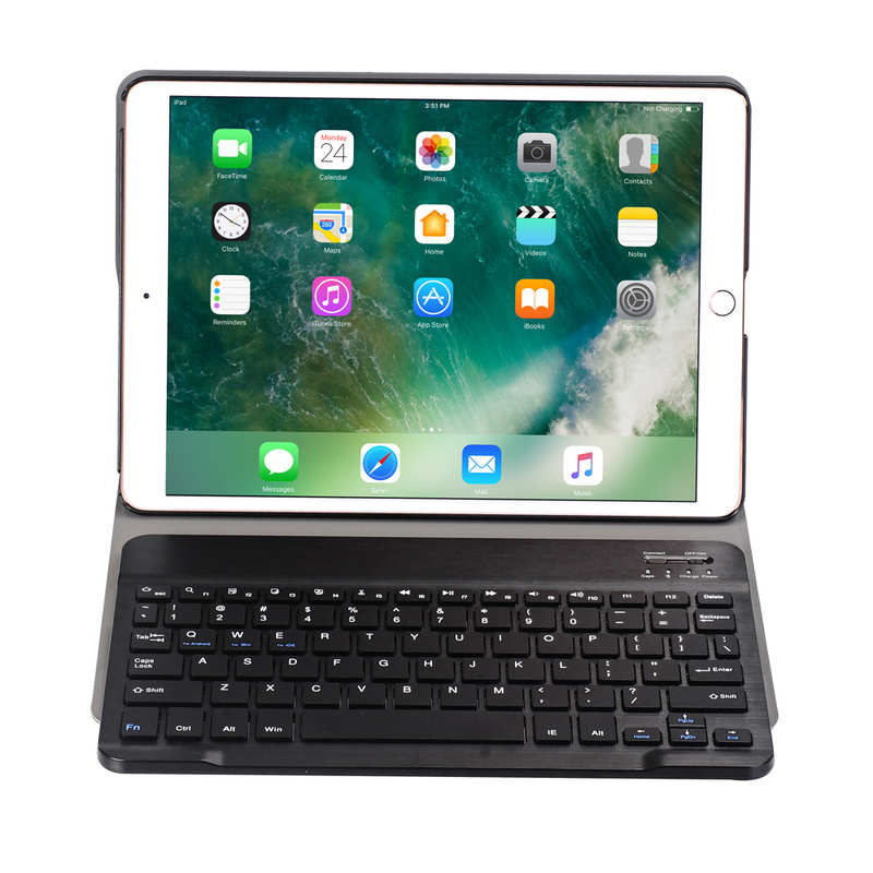 discount For iPad 7th Gen 10.2 2019 2 in 1 ABS Ultra-thin Bluetooth Keyboard Leather Case - Navy Blue