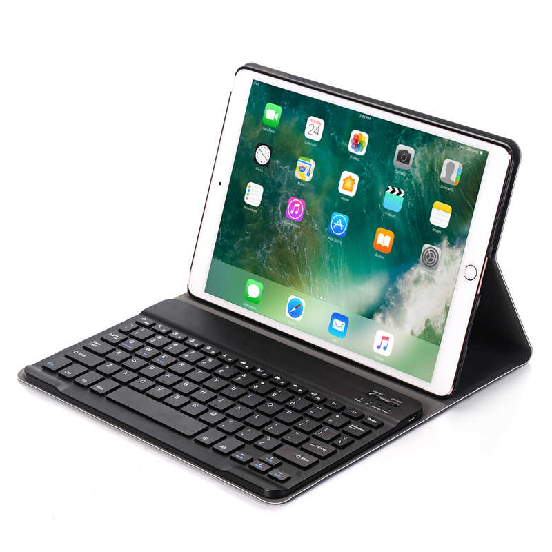 cheap For iPad 7th Gen 10.2 2019 2 in 1 ABS Ultra-thin Bluetooth Keyboard Leather Case - Navy Blue