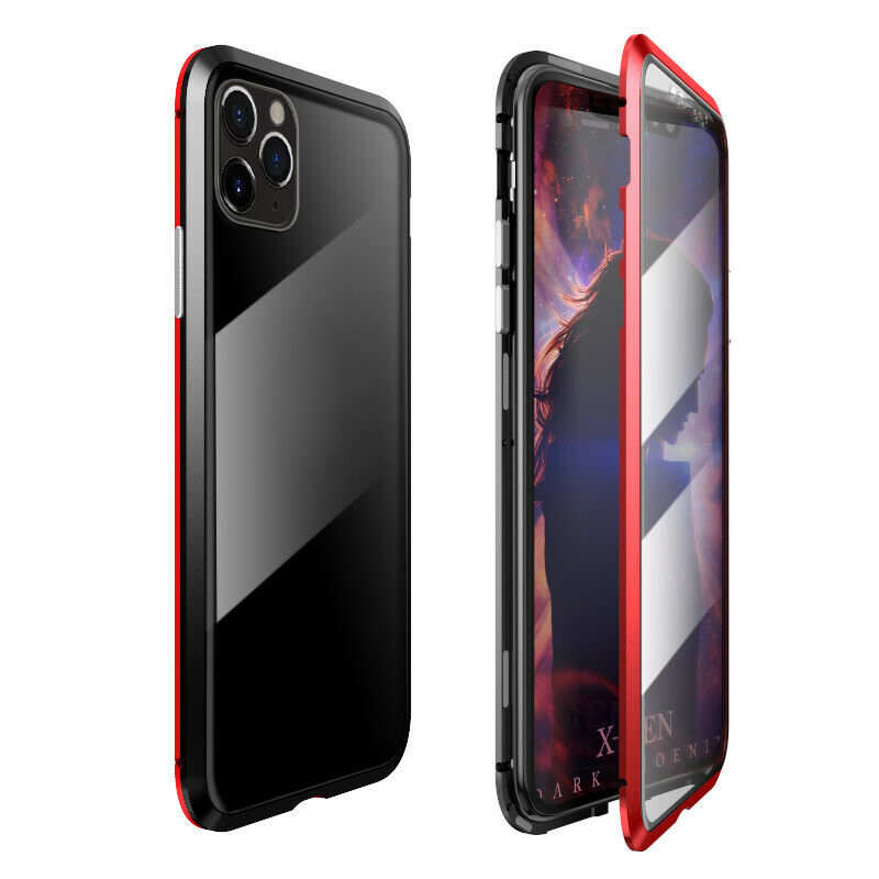 wholesale For iPhone 11 Pro Case Magnetic Absorption Metal Back Glass Cover - Black&Red