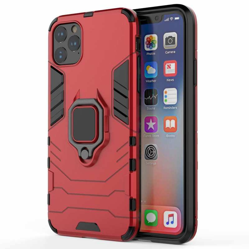 wholesale For iPhone 11 Pro Max Cover Magnetic 360 Ring Holder Stand Case - Red