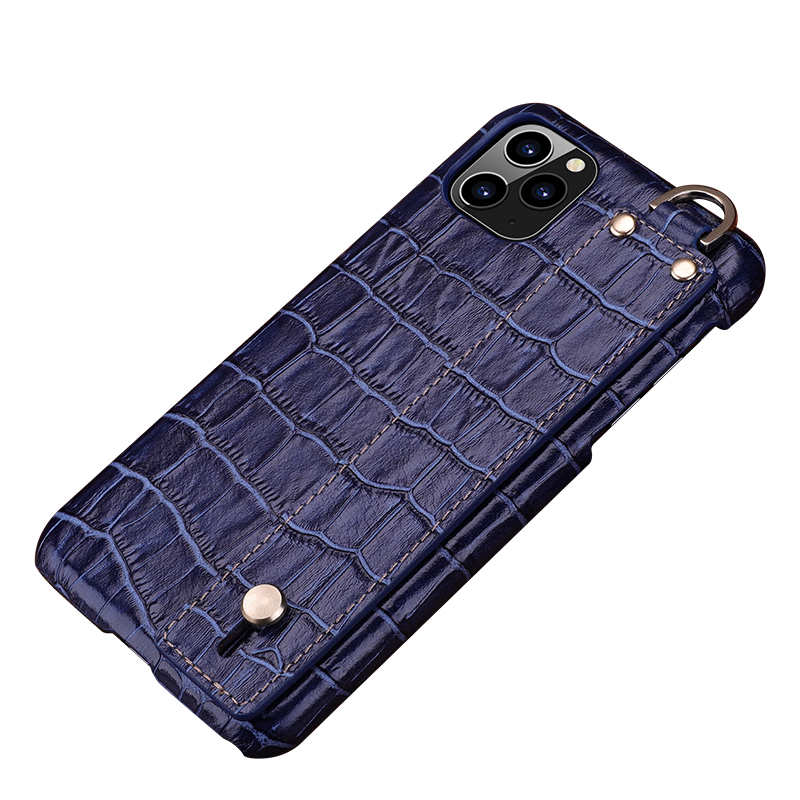 wholesale For iPhone 11 Pro Max Genuine Leather Case Crocodile Bracelet Holder Cover - Navy Blue