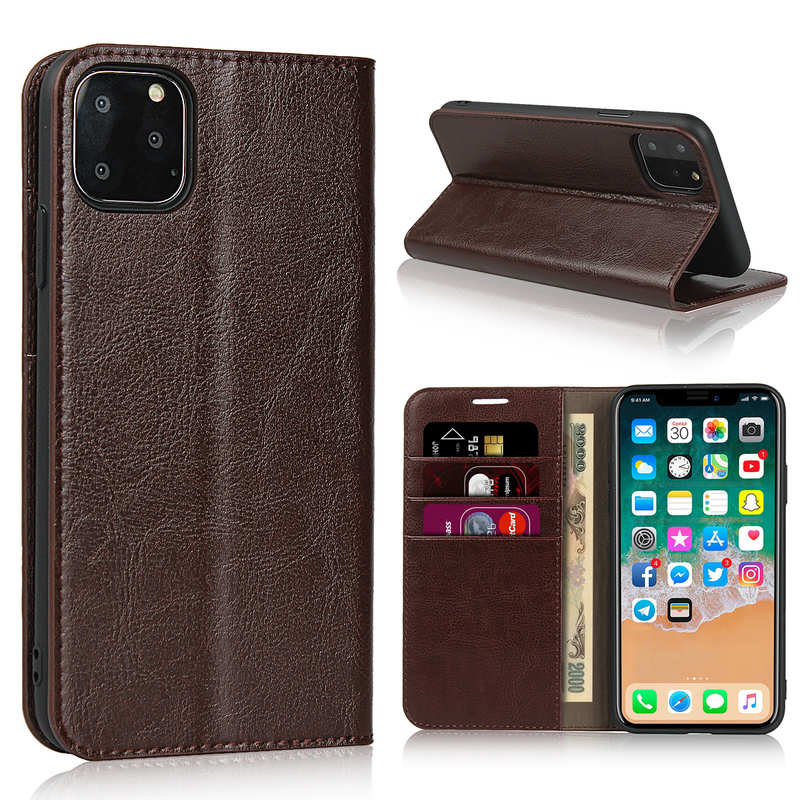 wholesale For iPhone 11 Pro Max Genuine Leather Crazy Horse Wallet Stand Case - Brown