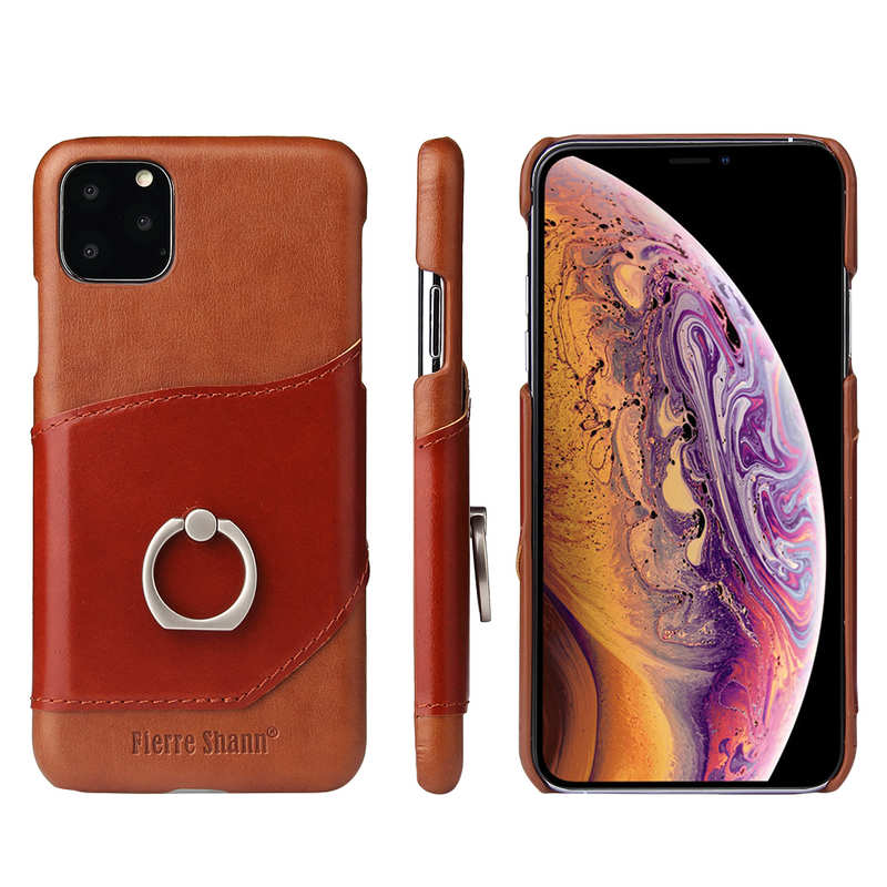 wholesale For iPhone 11 Pro Max Genuine Leather Wallet Case Ring Magnetic Cover - Brown