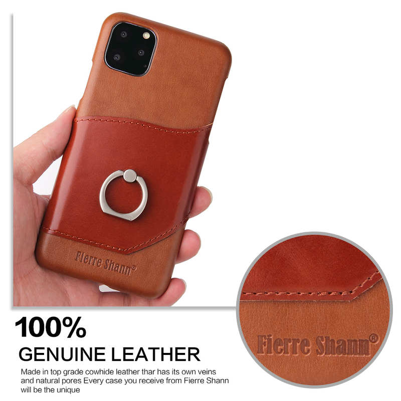 cheap For iPhone 11 Pro Max Genuine Leather Wallet Case Ring Magnetic Cover - Brown