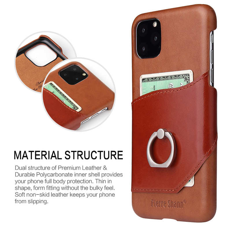 top quality For iPhone 11 Pro Max Genuine Leather Wallet Case Ring Magnetic Cover - Brown