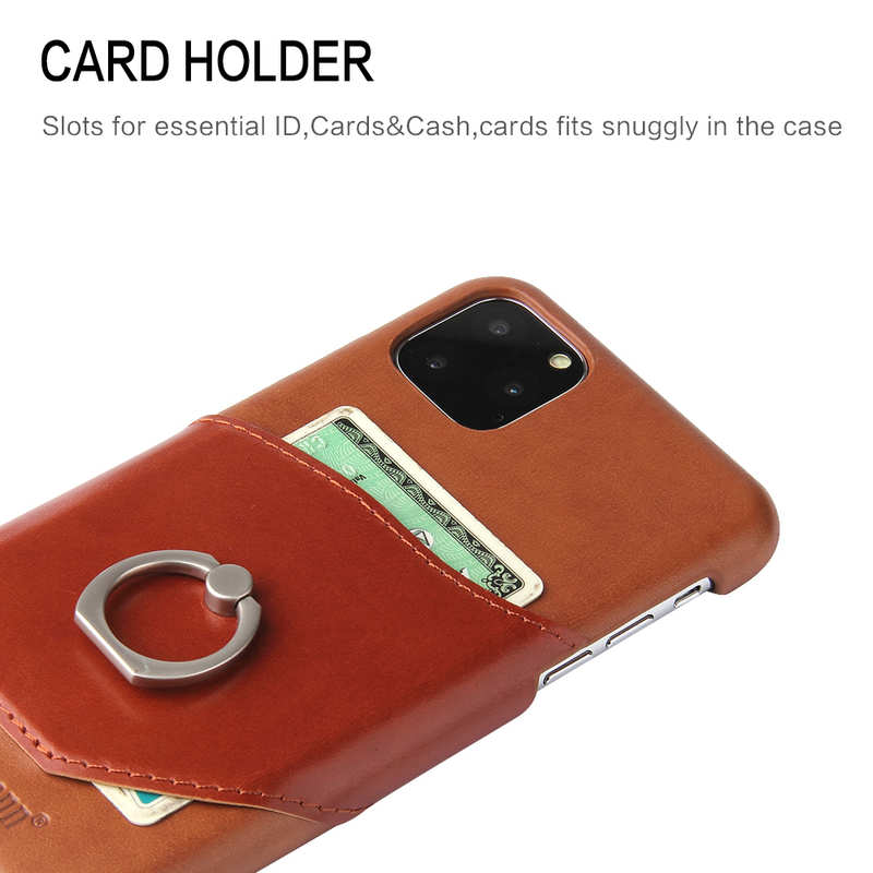 best price For iPhone 11 Pro Max Genuine Leather Wallet Case Ring Magnetic Cover - Brown