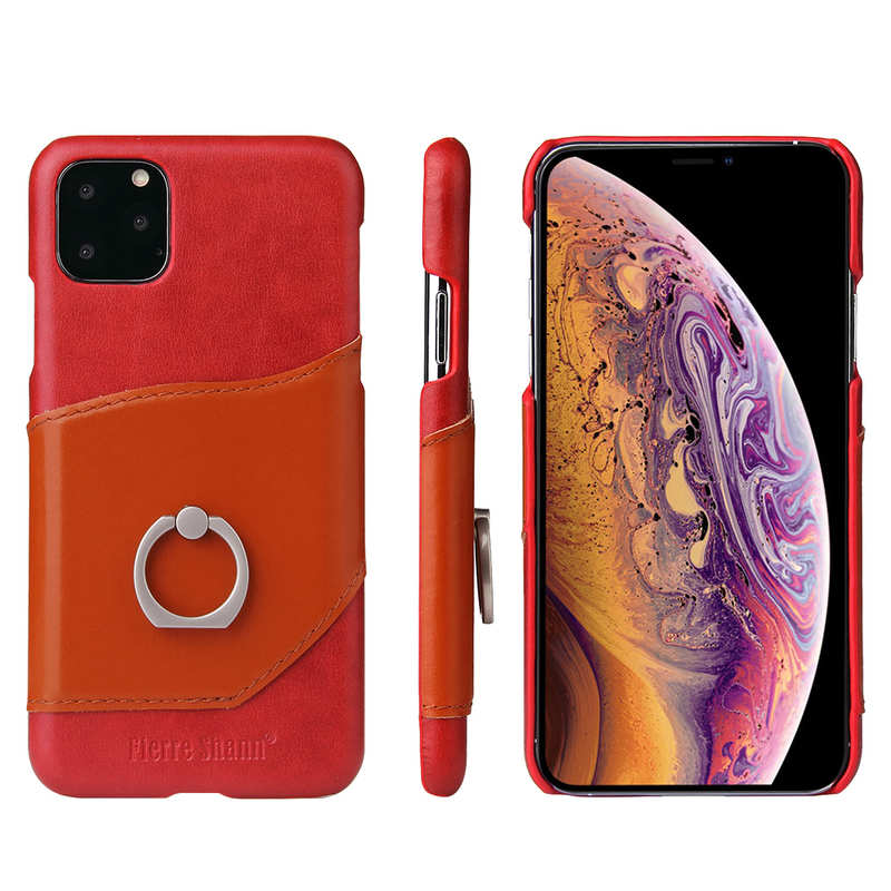 wholesale For iPhone 11 Pro Max Genuine Leather Wallet Case Ring Magnetic Cover - Red