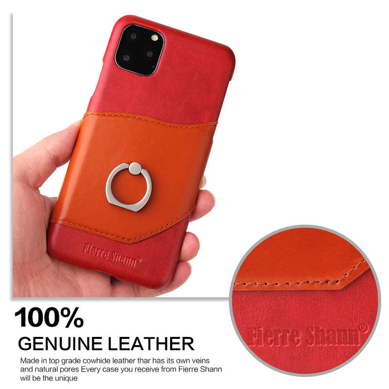 cheap For iPhone 11 Pro Max Genuine Leather Wallet Case Ring Magnetic Cover - Red
