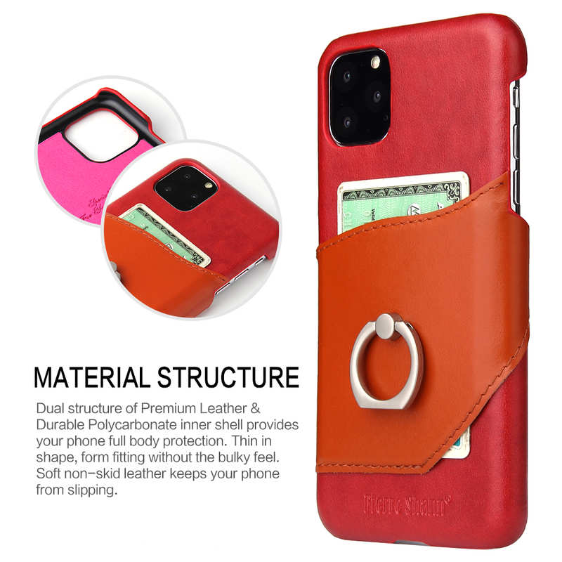 top quality For iPhone 11 Pro Max Genuine Leather Wallet Case Ring Magnetic Cover - Red