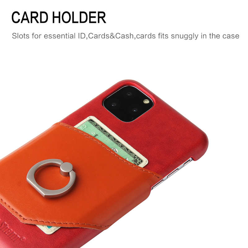 best price For iPhone 11 Pro Max Genuine Leather Wallet Case Ring Magnetic Cover - Red