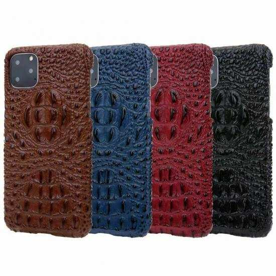 wholesale For iPhone 11 Pro Max Luxury 3D Crocodile Genuine Leather Cover Matte Back Case